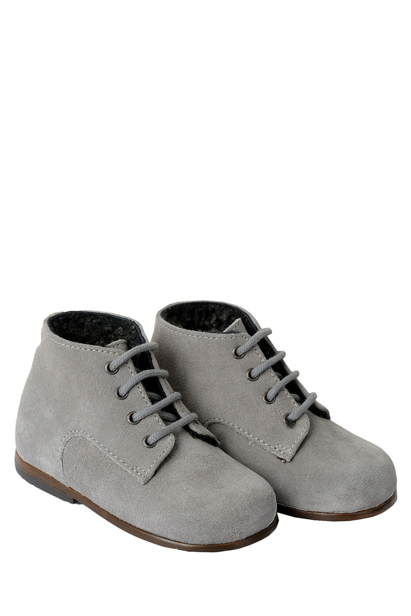 Фото 2 - Замшевые ботинки Little Mary for Bonpoint серого цвета