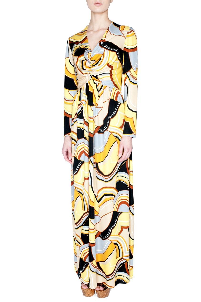 Платье в пол с ярким принтом и драпировкой на груди