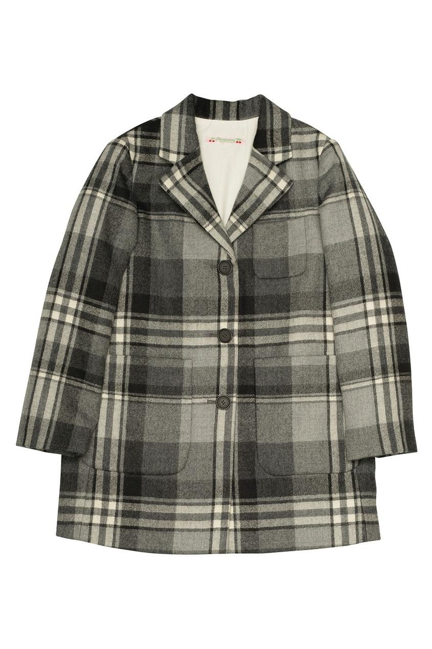 Фото 2 - Шерстяное пальто Darling от Bonpoint серого цвета
