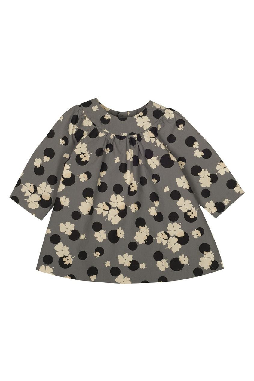 Фото 2 - Платье с принтом Daphne от Bonpoint серого цвета