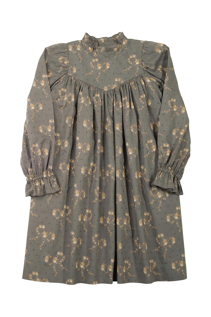 Фото 2 - Платье с принтом Delphine от Bonpoint серого цвета