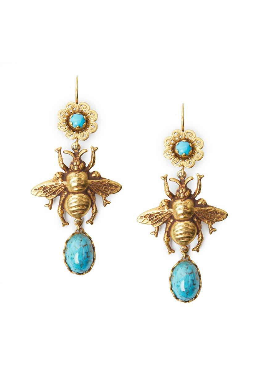 Серьги с пчелами и голубыми камнями (70-е гг.)