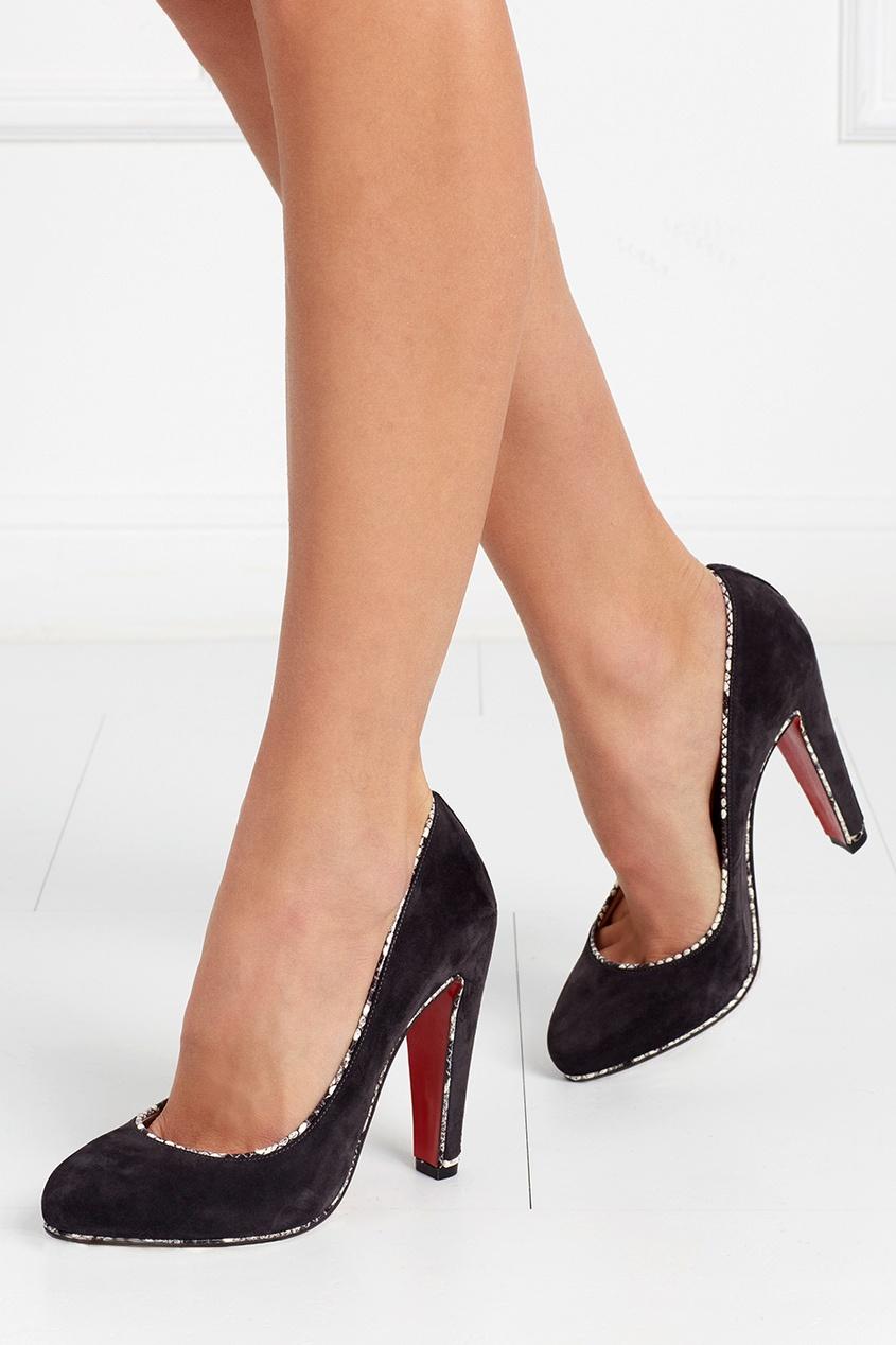 Замшевые туфли с кожей змеи Louloupump 100