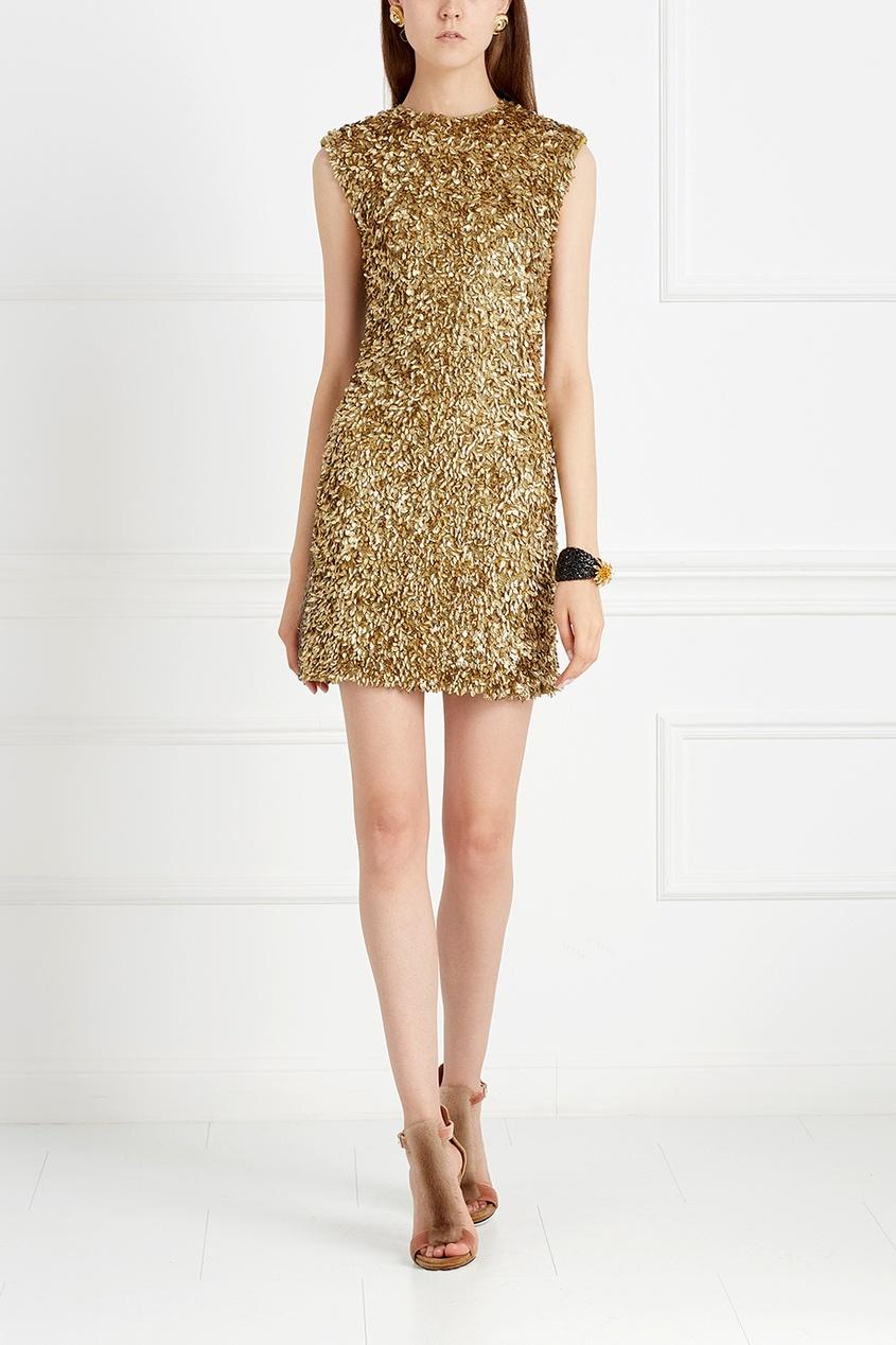 Шерстяное платье с пайетками