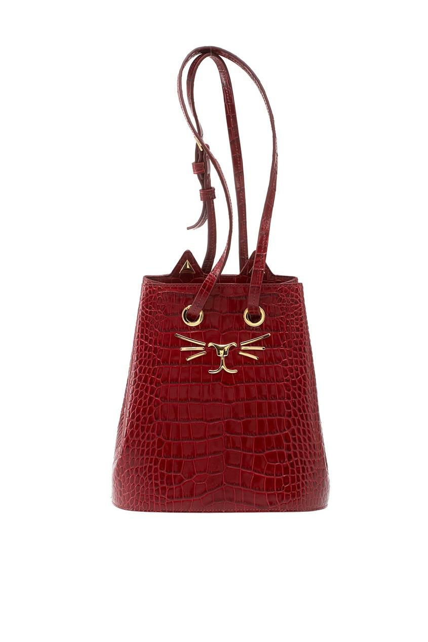 Сумка из лакированной кожи Feline Bucket Bag