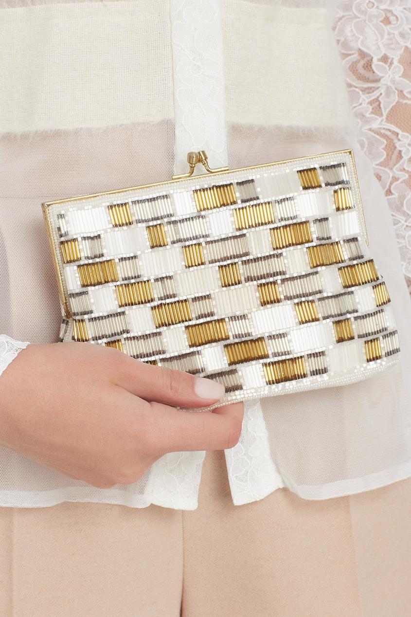 Walborg Vintage Бело-золотая сумка со стеклярусом (80-е) co e