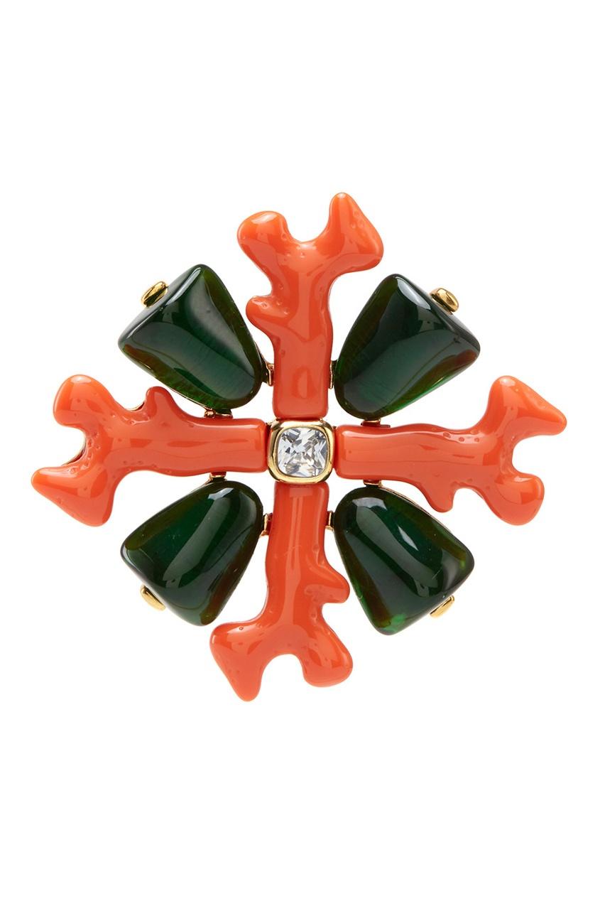 Брошь из коралла с кристаллами (90-е)