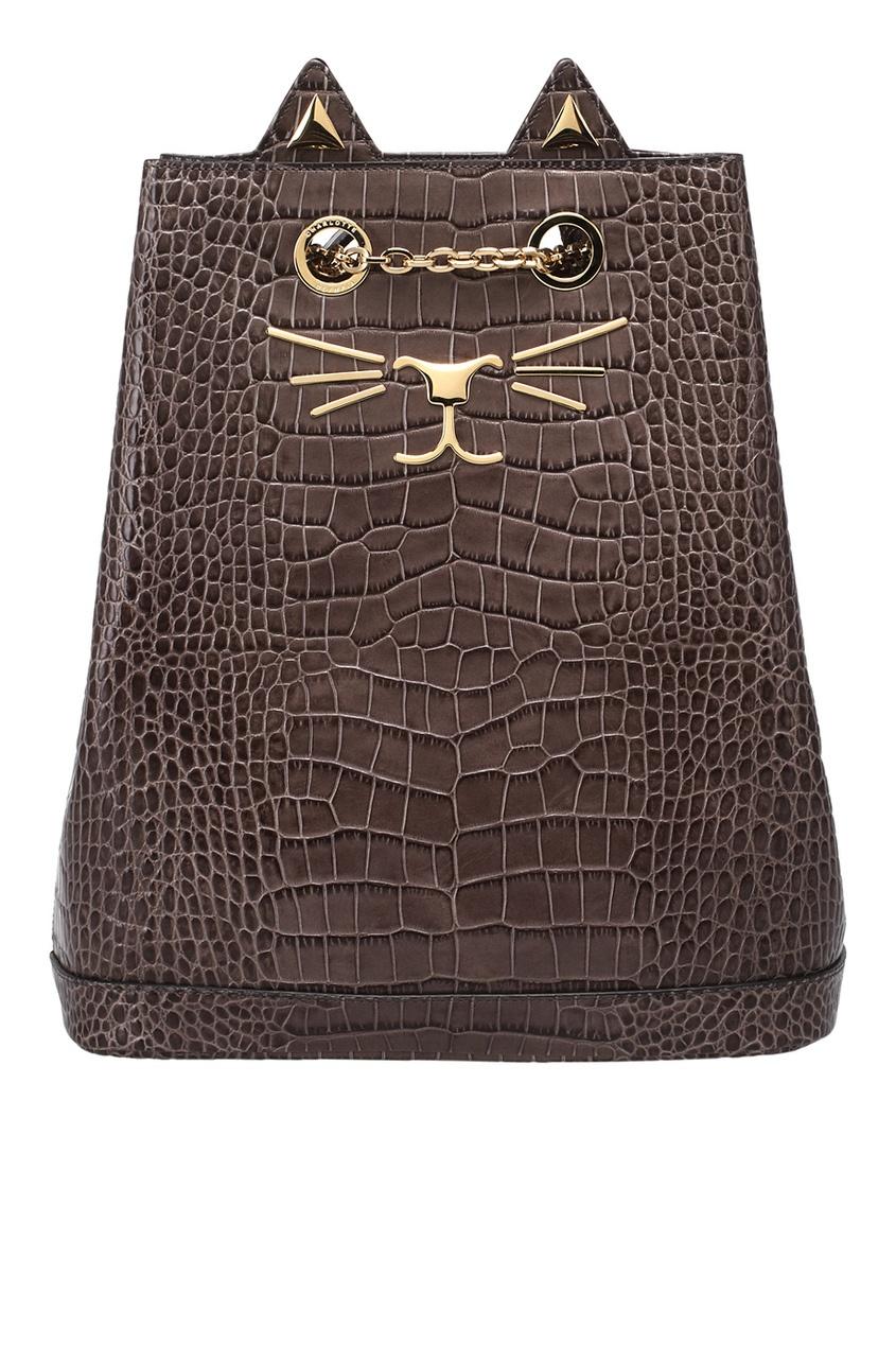 Рюкзак из лакированной кожи Feline Bucket Bag