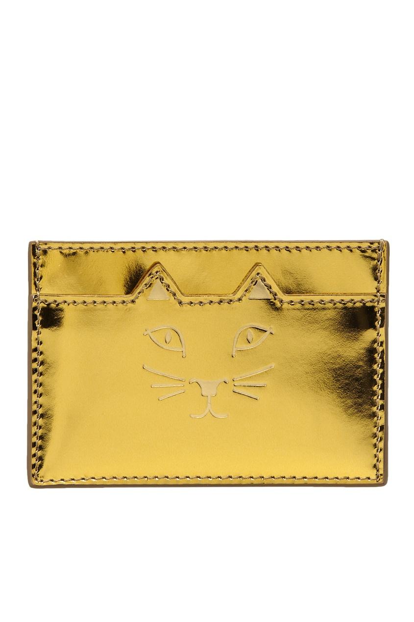 Визитница из металлизированной кожи Feline Card Holder