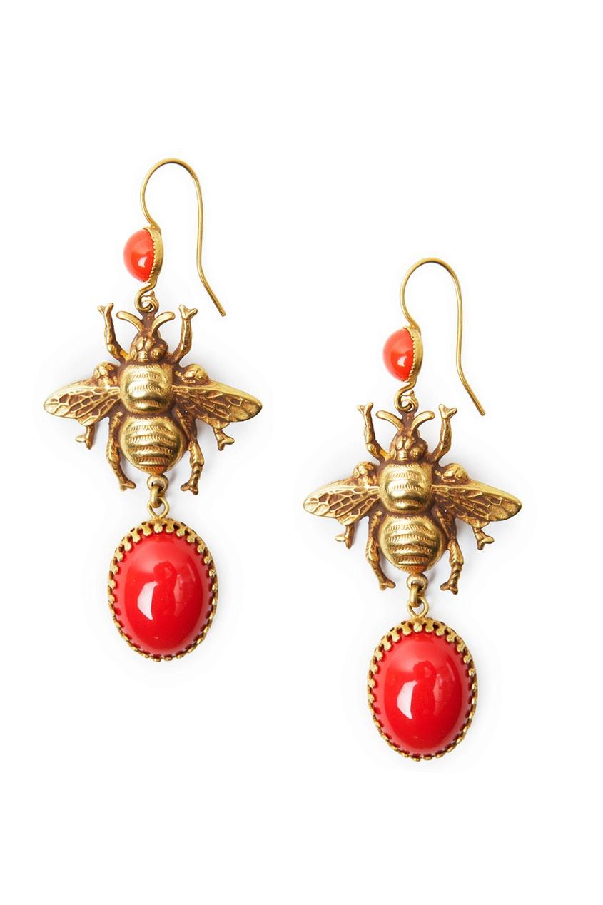 Серьги в виде пчел с красными камнями (70-е гг.)