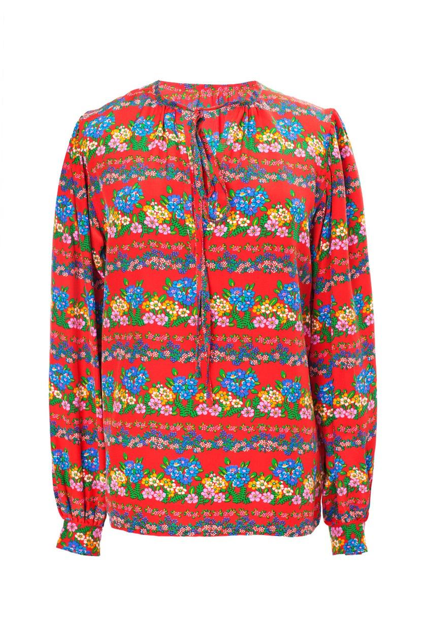 Костюм из блузы и юбки с цветочным принтом (70-е гг.)