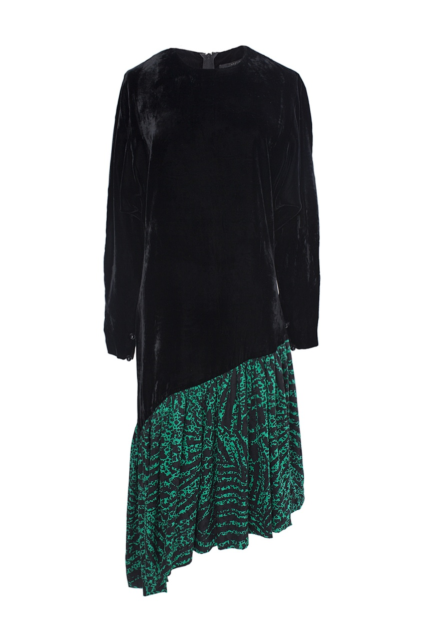 Бархатное платье с шелковой юбкой (80-е гг.)