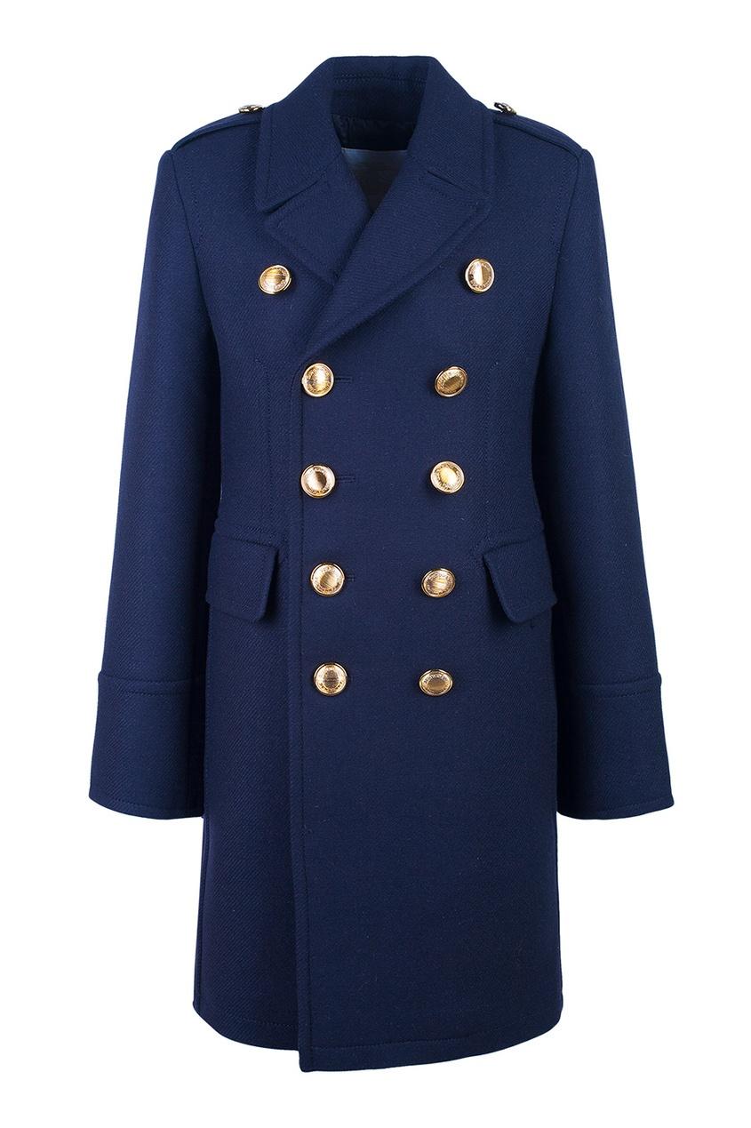 Купить Шерстяное пальто от Burberry Kids синего цвета