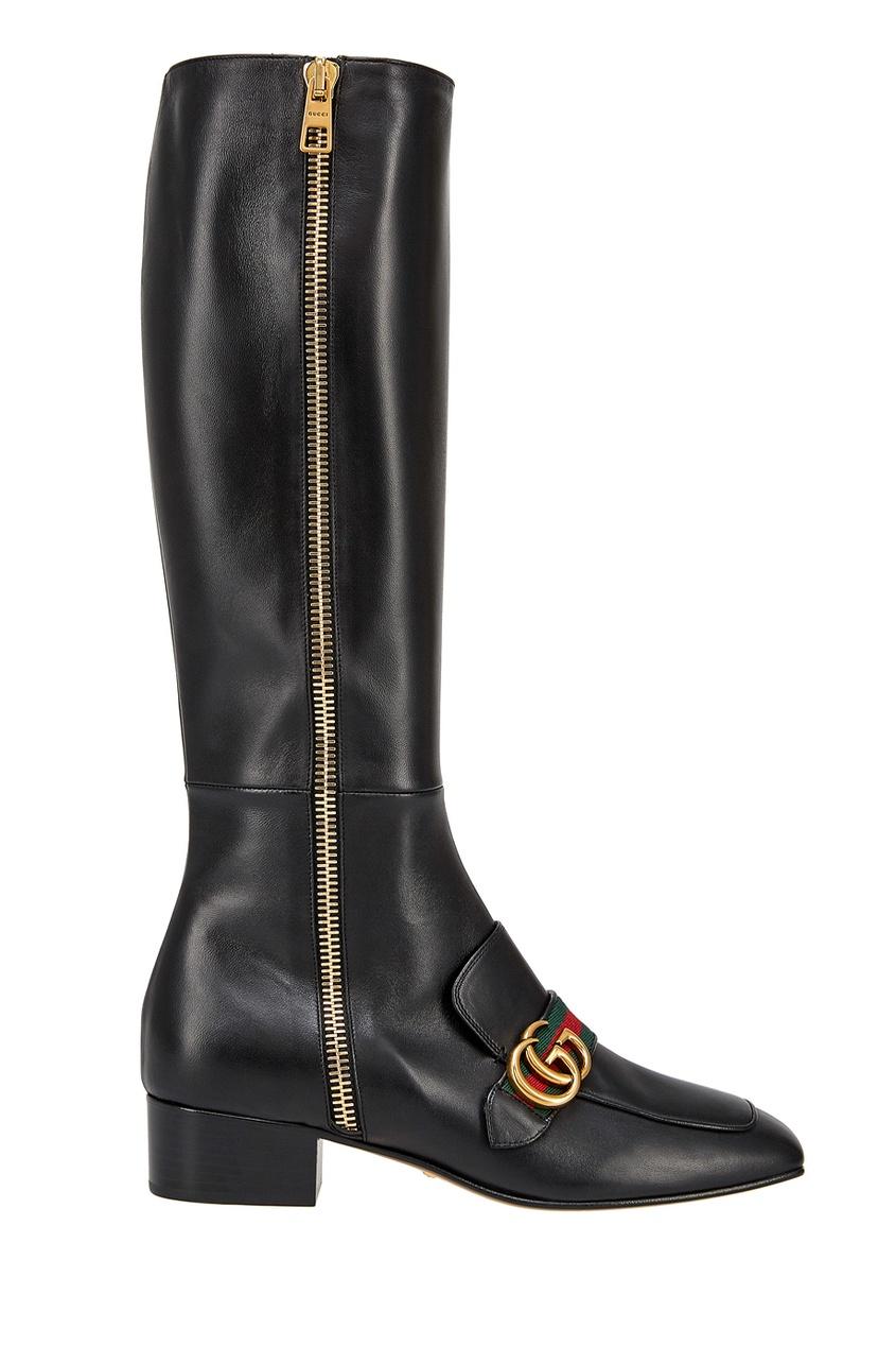 Gucci Кожаные сапоги сапоги кожаные на плоском каблуке 1137