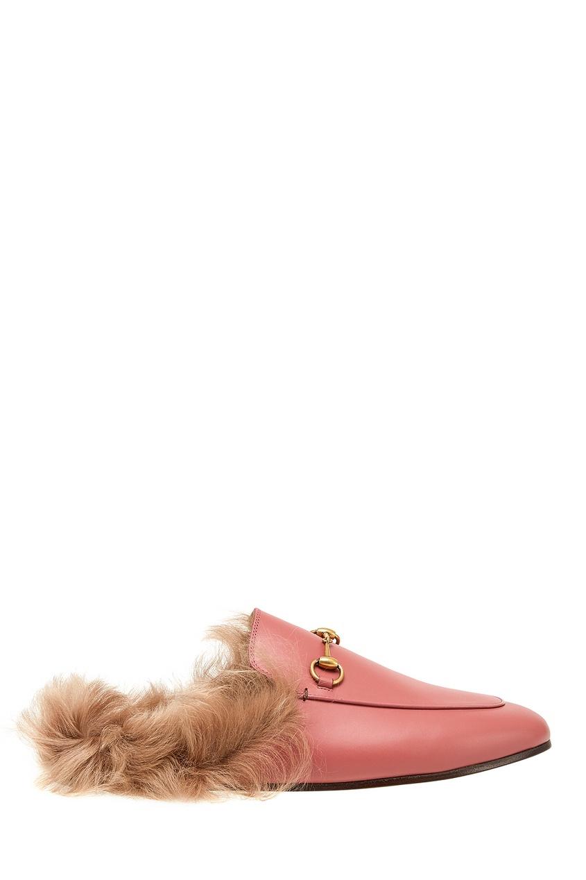 Gucci Кожаные слиперы с мехом