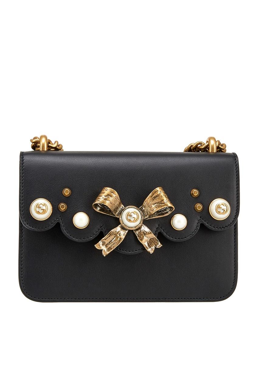 Gucci Кожаная сумка с кристаллами