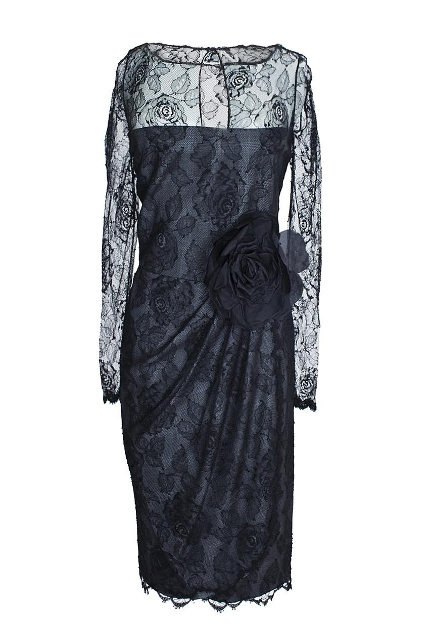 Bill Blass Vintage Платье из кружева с розой (80-е гг.)