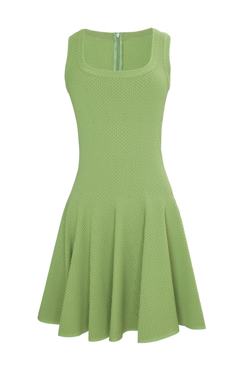 Зеленое платье-мини с пышной юбкой