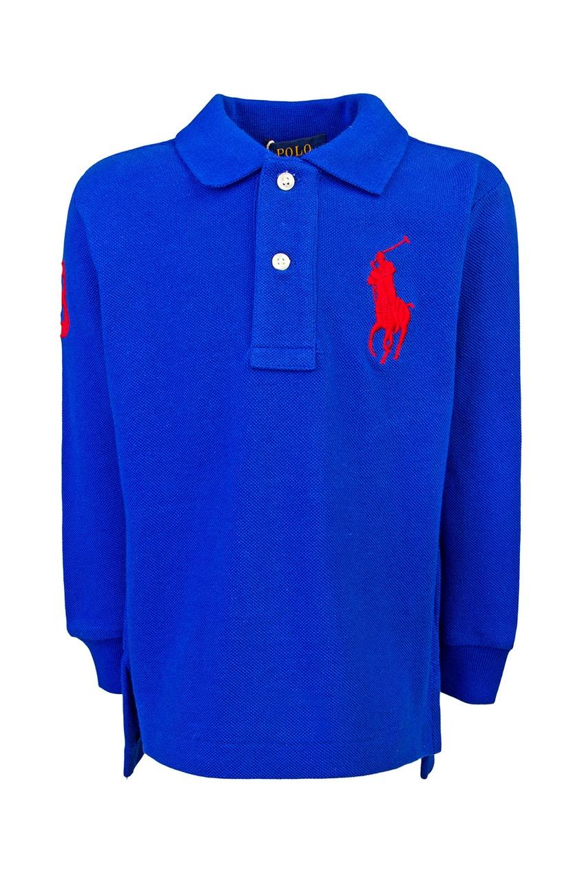 Ralph Lauren Children Хлопковое поло поло синее с принтом ido ут 00004176