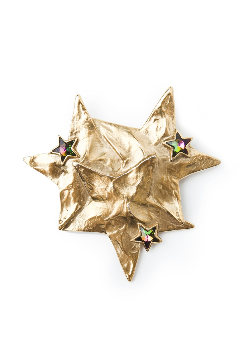 Брошь в виде золотых звезд с вставками из камней (80-е гг.)