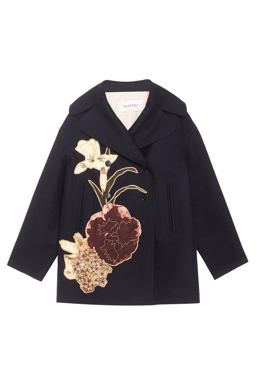 Valentino Двубортное пальто с аппликацией вышивка бисером молящийся христос