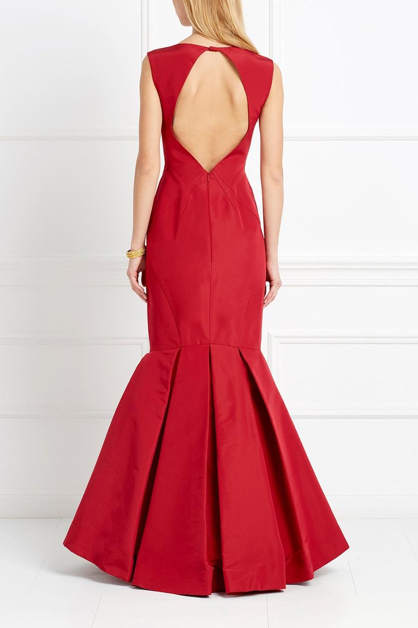 Красное платье-годе из шелка Zac Posen 6235922