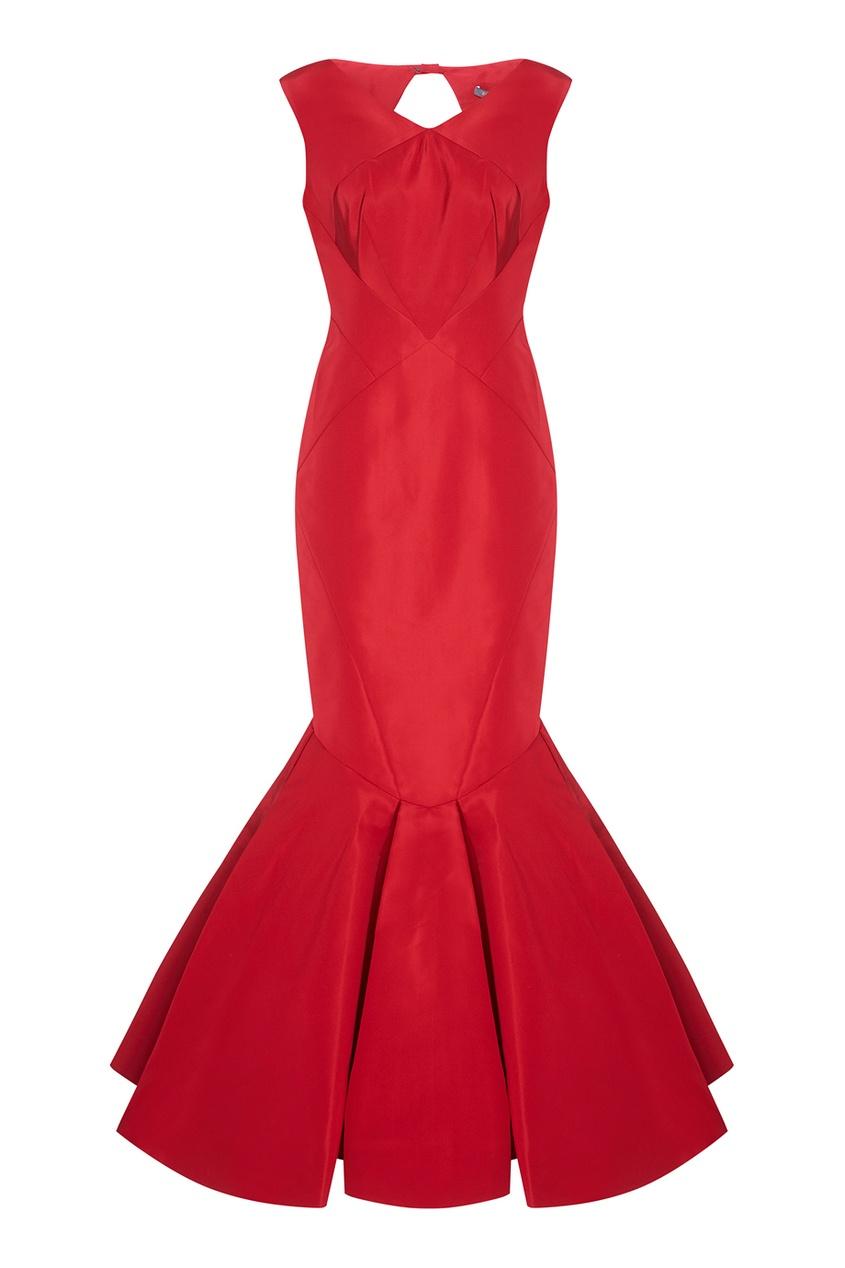 Красное платье-годе из шелка