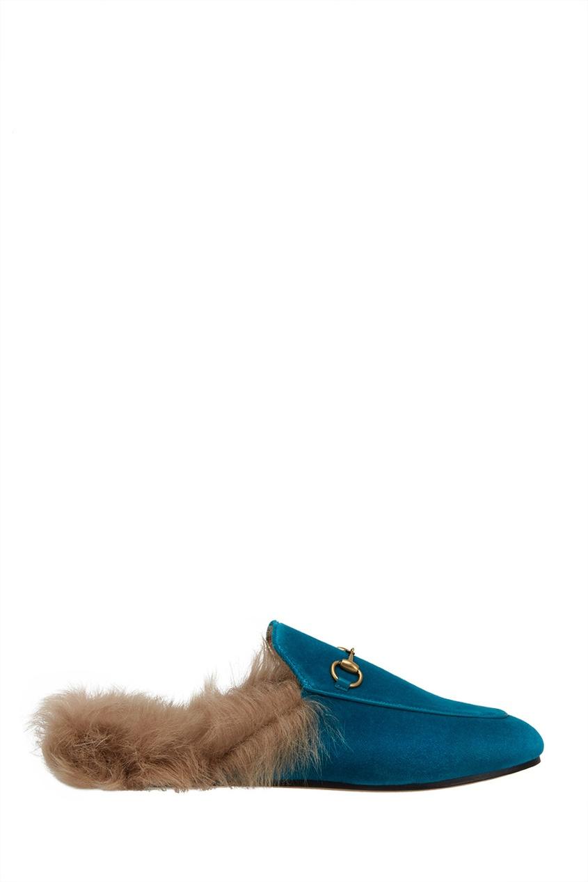 Gucci Бархатные слиперы с мехом слиперы мужские в спб
