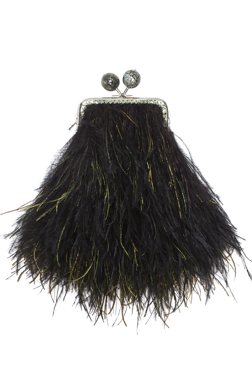 Клатч с перьями марабу и павлина BabyCleopatra