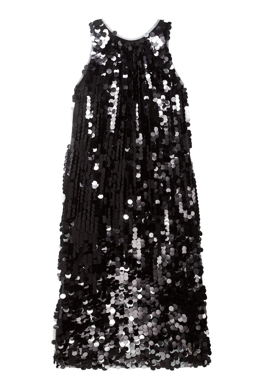 Шелковое платье с пайетками
