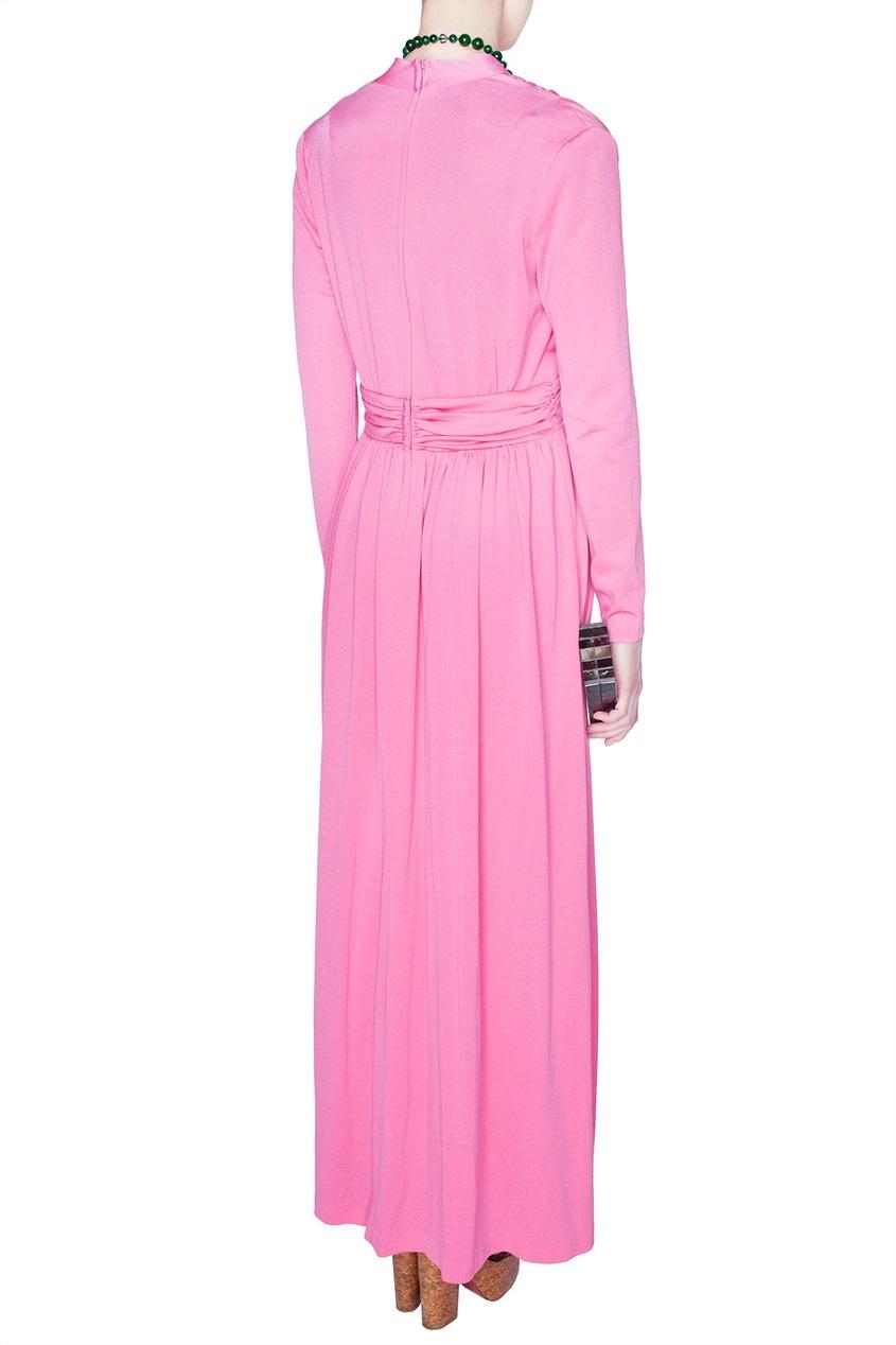 Платье с V-образным вырезом из струящейся ткани