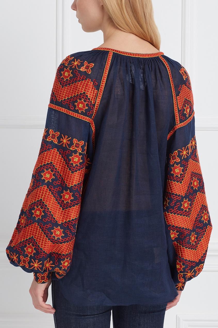 Фото 4 - Блузку из льна LINEN MINA от Vita Kin синего цвета
