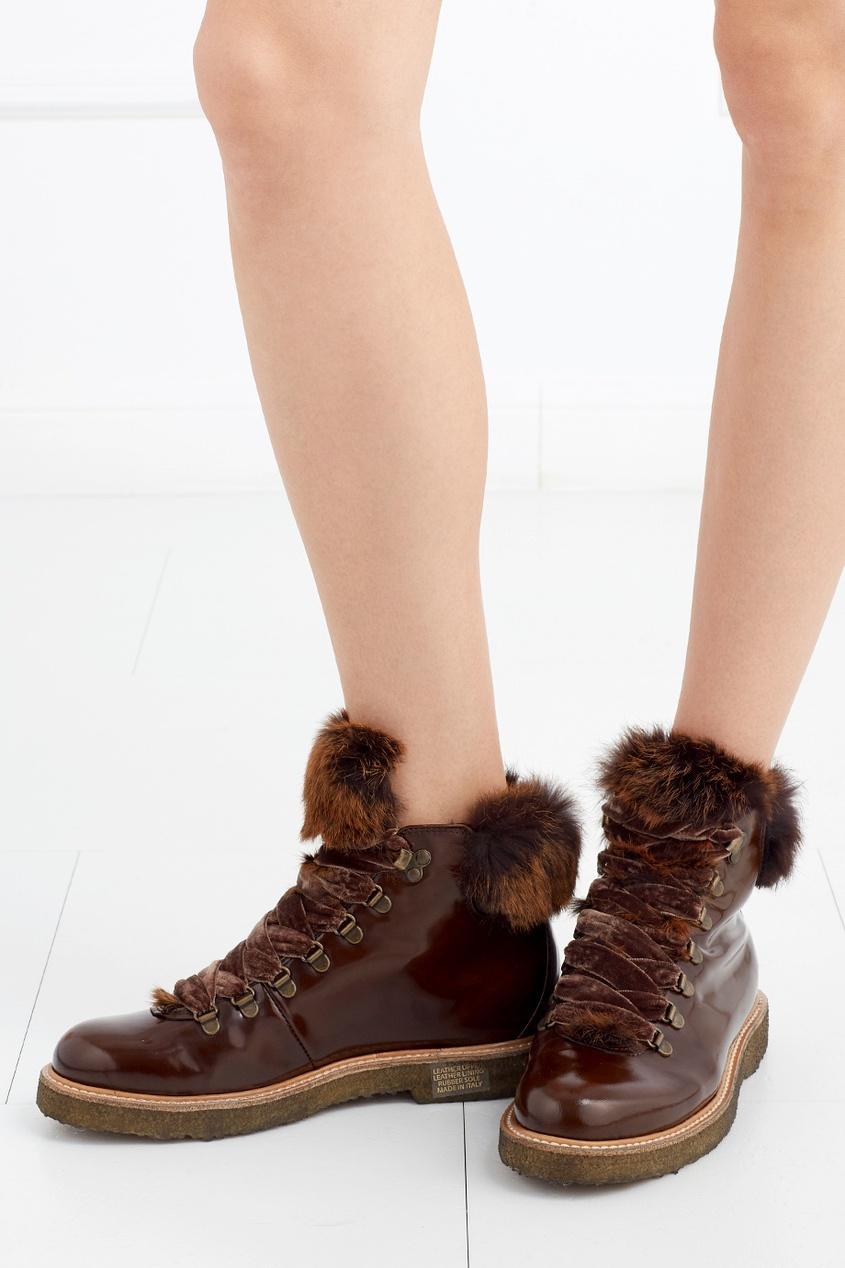 Кожаные ботинки с мехом кролика