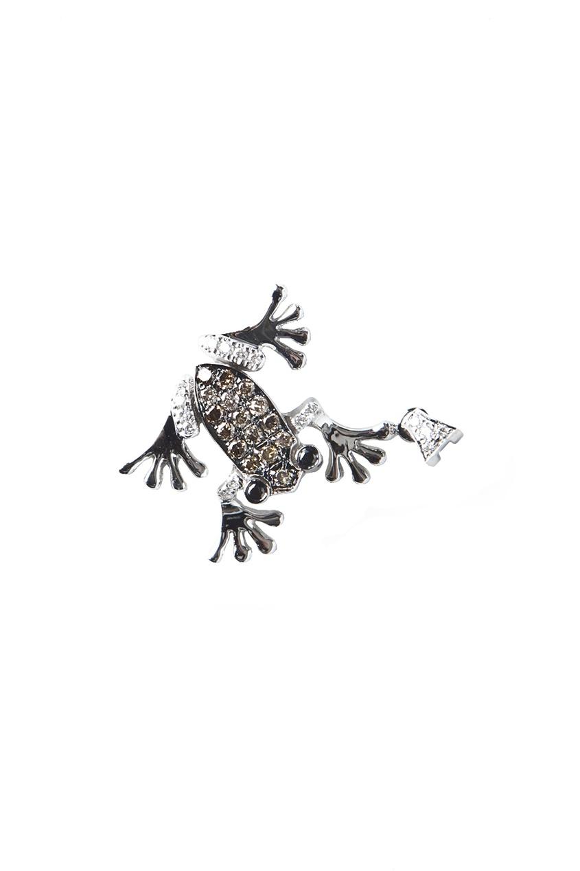 Кулон в виде лягушки из белого золота с бриллиантами