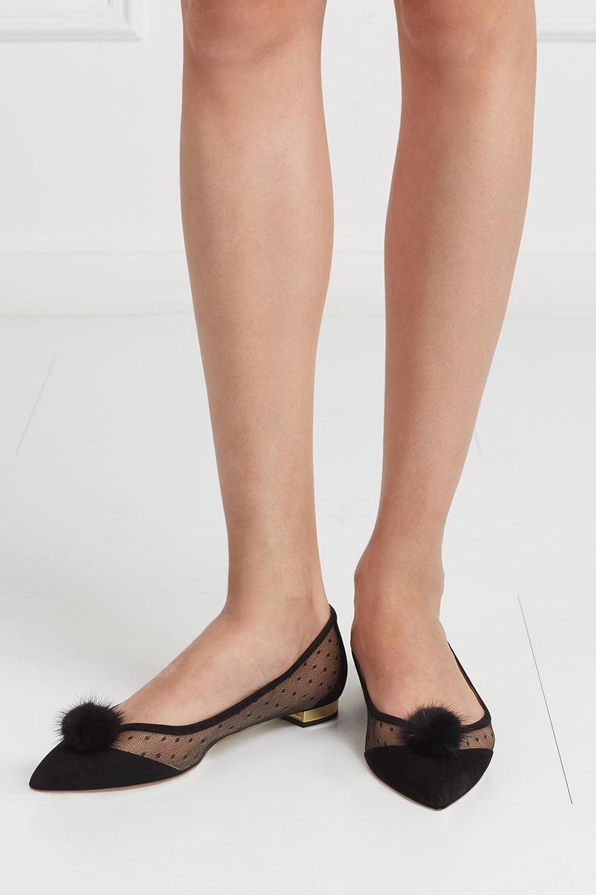 Туфли Baby Zarina из замши и норки
