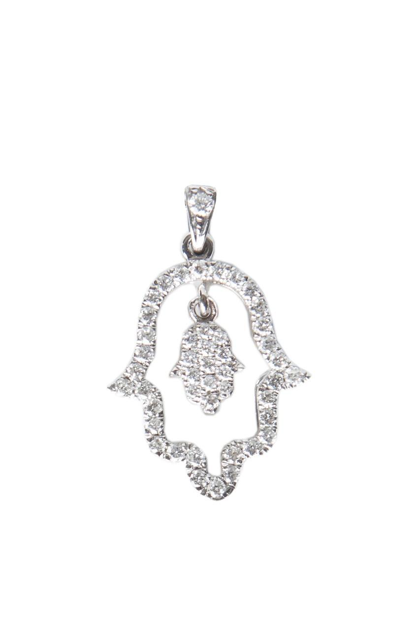 Кулон из белого золота и бриллиантов в виде хамсы