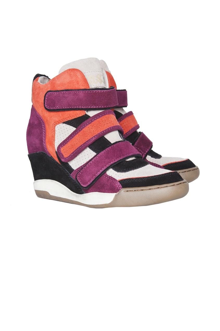 Разноцветные кроссовки из кожи и велюра со скрытым каблуком Alex