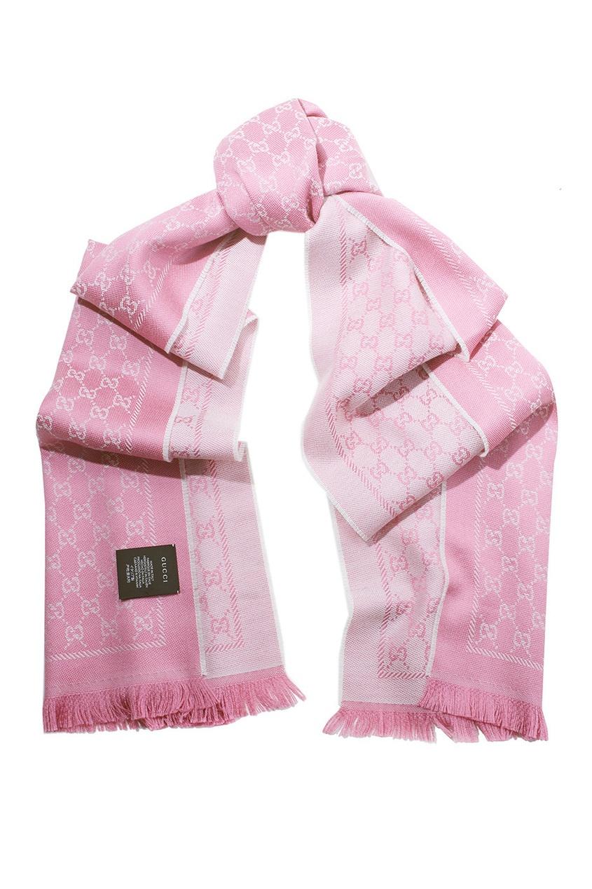 Купить Шерстяной шарф от Gucci розового цвета