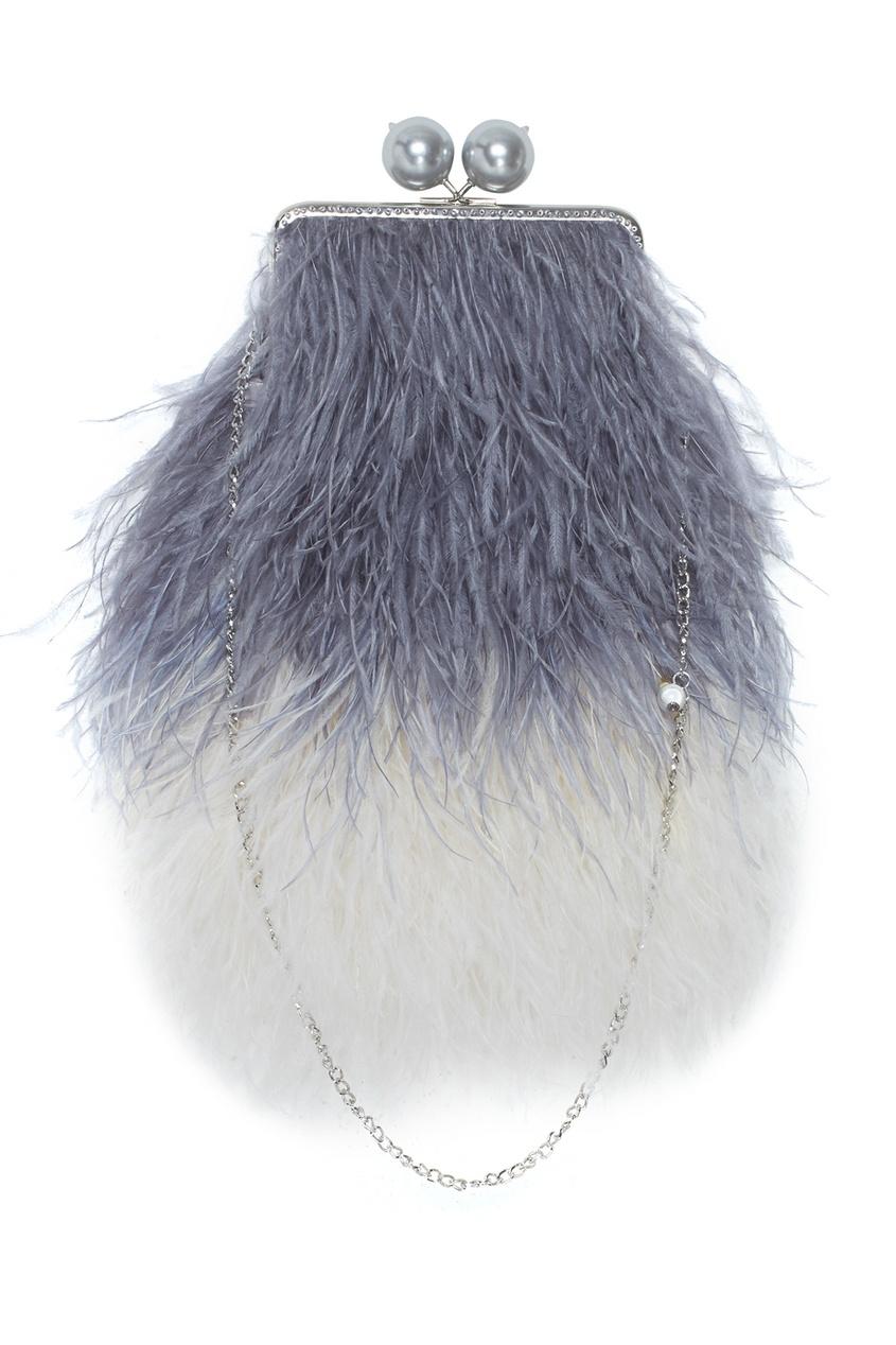 Клатч с перьями марабу