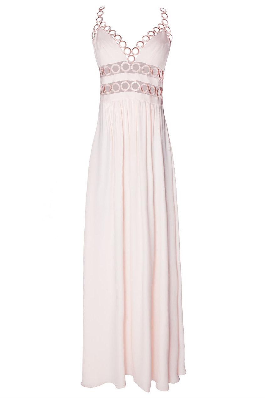 Шелковое платье с вырезом Leslie Azzaro. Цвет: розовый