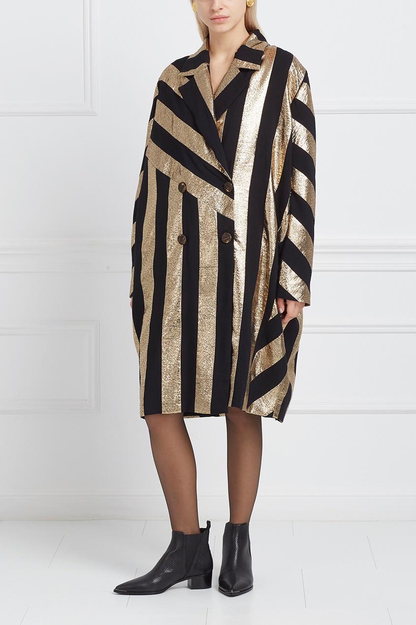 Пальто с контрастным принтом