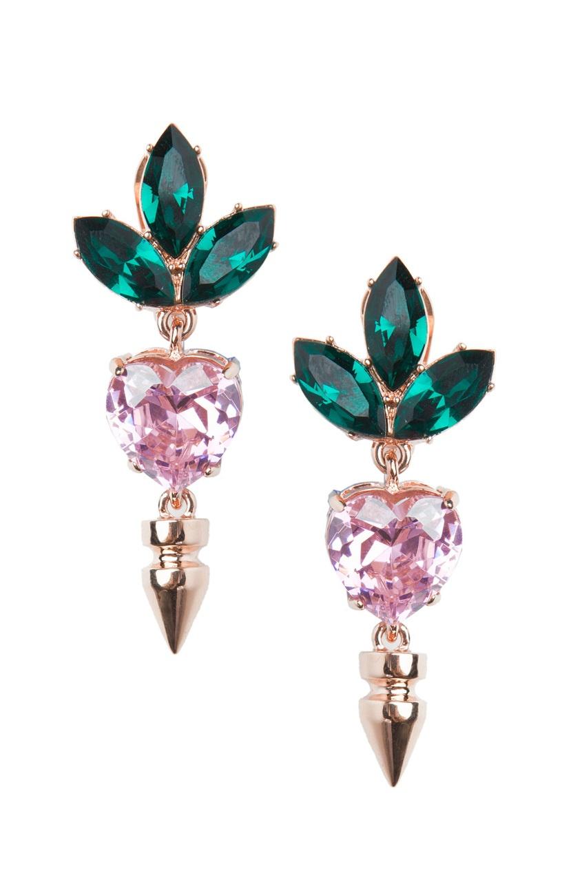 Серьги из латуни и кристаллов