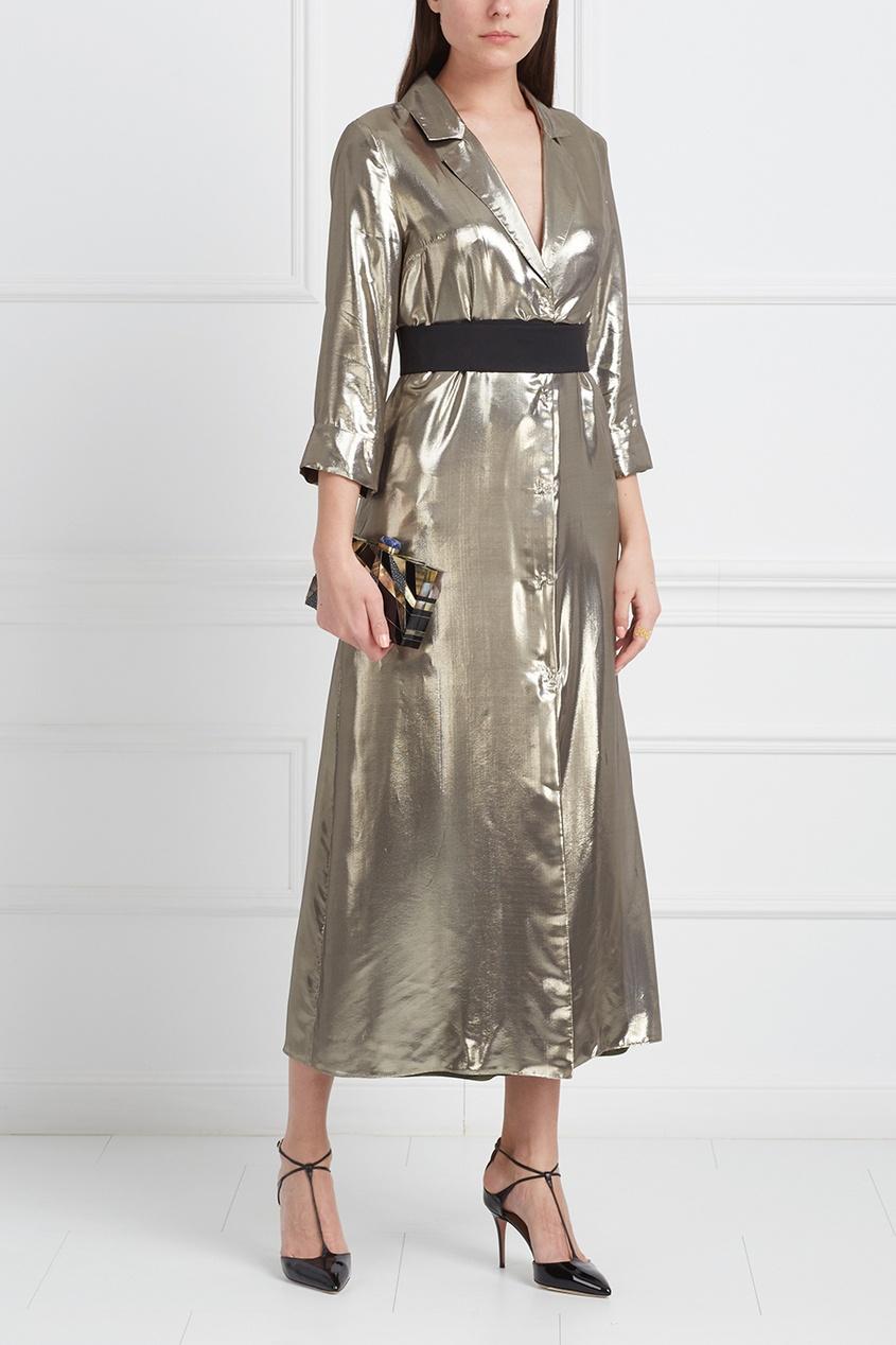 LAROOM Платье цвета металлик laroom однотонное платье