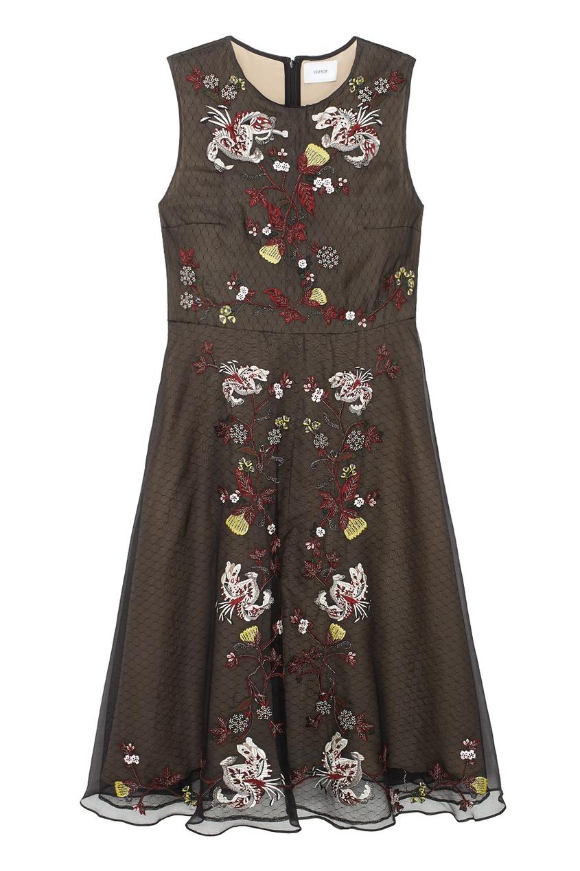 Erdem Платье с сеткой и вышивкой платье с вышивкой