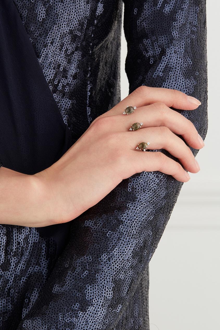 Moonka Studio Серебряное кольцо с турмалинами moonka studio позолоченные серьги пуссеты с кварцем и цитринами