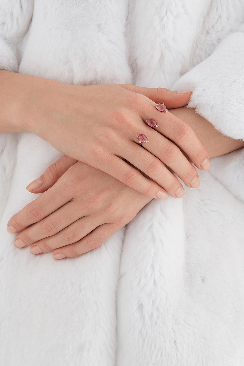 Moonka Studio Позолоченное серебряное кольцо с турмалинами moonka studio серебряное кольцо с топазом