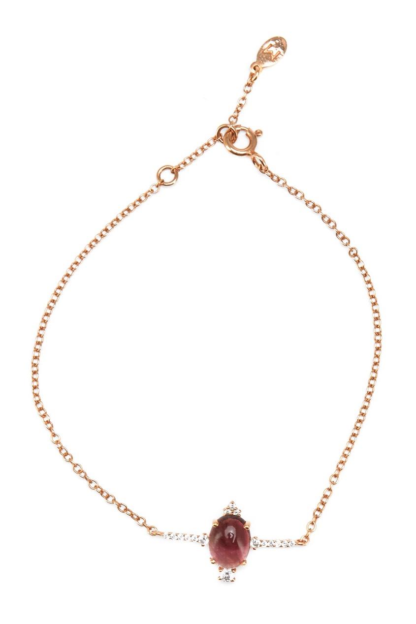 Позолоченный серебряный браслет с турмалином от AIZEL