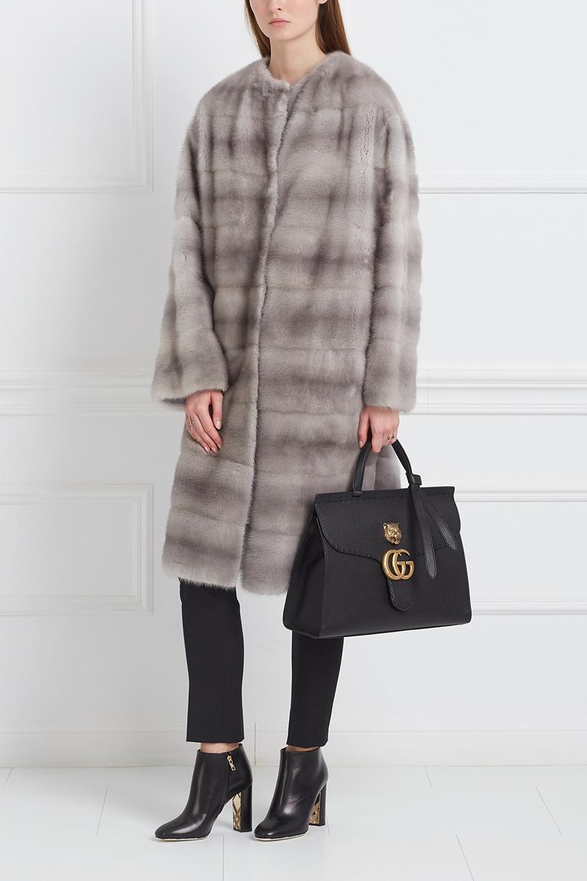 Пальто из меха серой норки