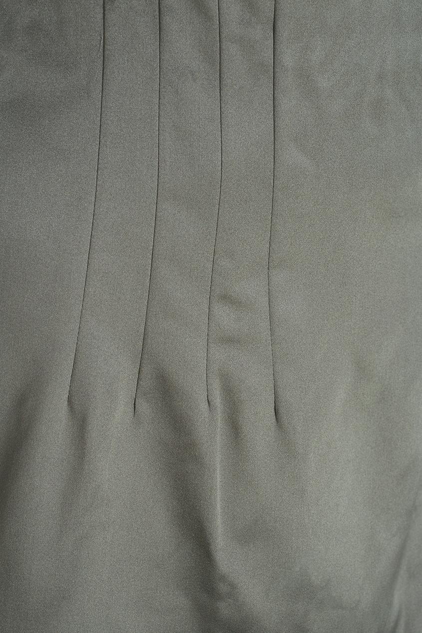 Юбка из шелка цвета хаки