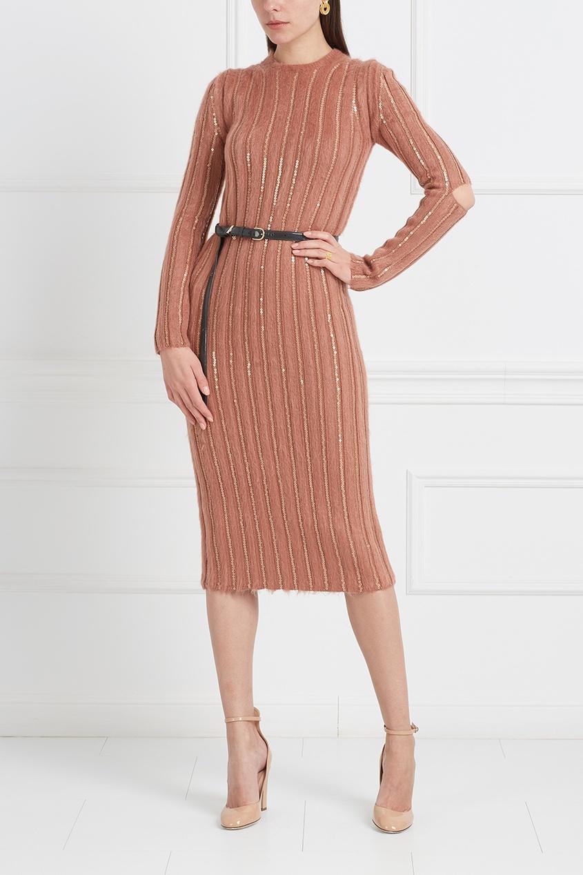 Nina Ricci Шерстяное платье с пайетками